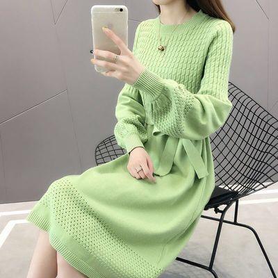 针织连衣裙女2020秋冬新款宽松中长款过膝针织衫很仙的打底毛衣裙