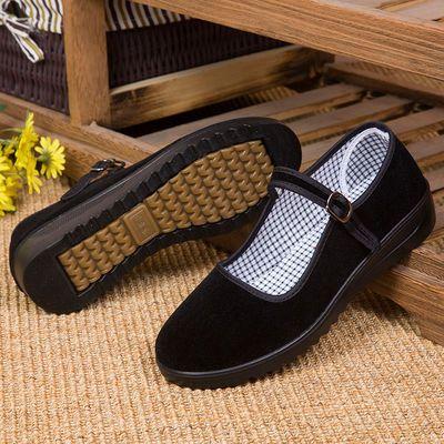 老北京布鞋女牛筋底妈妈鞋软底四季黑色工作鞋酒店防滑厚平底浅口