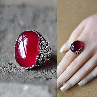 (假一赔十 送证书)红玛瑙玉髓925复古戒指女皇冠钻戒送女友礼物