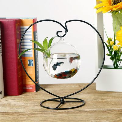 创意玻璃瓶透明家居装饰悬挂水培花瓶可养鱼花瓶书桌生态景观鱼缸