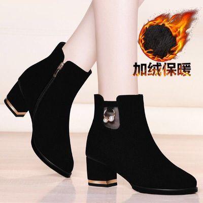 短靴女2019冬季新款中筒靴女鞋女靴子粗跟马丁靴女鞋加绒女士棉鞋