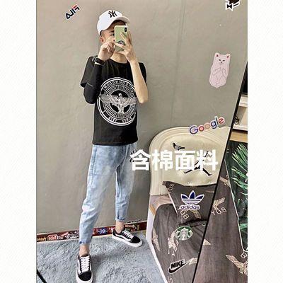 夏季快手红人同款BOY半袖棉质T恤精神社会小伙韩版修身打底衫男潮