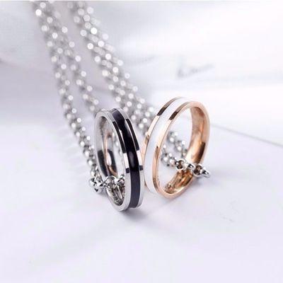 闺蜜网红情侣戒指项链一对定制刻字吊坠男女学生森系礼物简约锁骨