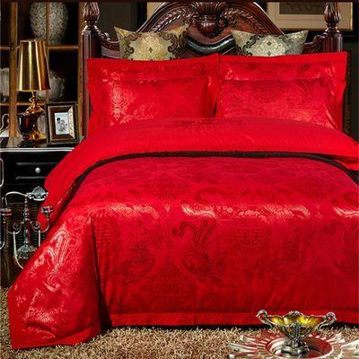 欧式贡缎4四件套高档提花床上用品全棉婚庆双人床单被套1.8米2.0m【2月29日发完】