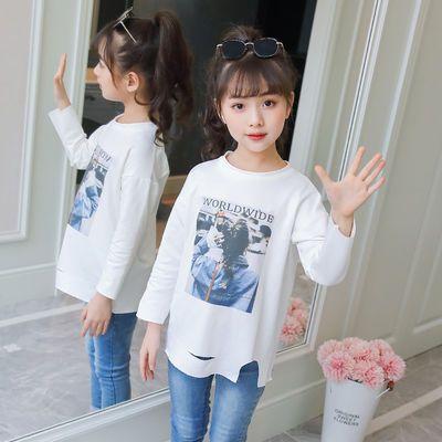 童装儿童2019春秋装女童打底衫长袖T恤中大童印花中长款白色上衣