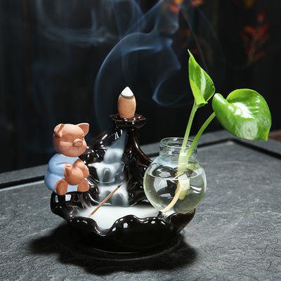 倒流香炉家用室内檀香净化空气熏香炉创意新款陶瓷茶道倒流香摆件