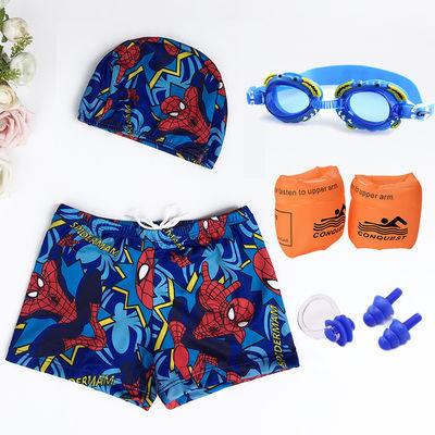 温泉儿童泳衣男童小中大童平角可爱卡通学生大码游泳裤带泳帽套装