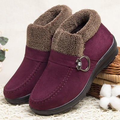 加绒保暖冬季棉鞋老北京布鞋女妈妈鞋中老年人老太太大码女鞋高帮