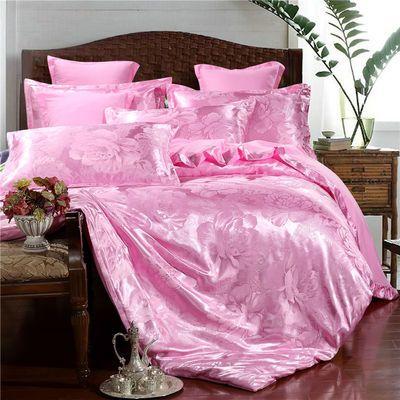 家纺欧式提花四件套1.8米2.0m床单被套婚庆双人床上用品4件套清仓