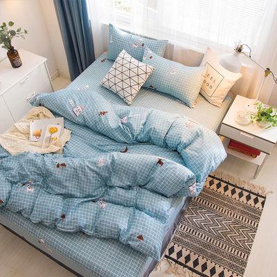 四季通用床上四件套被套床单简约仿棉学生宿舍用品单双人4三件套【2月29日发完】