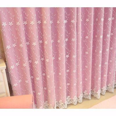 韩式双层粉色蕾丝全遮光公主风客厅卧室结婚婚房阳台定制成品窗帘