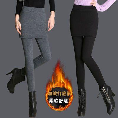 外穿踩脚显瘦保暖裙裤加绒加厚新款假两件打底裤弹力纯色包臀裙裤