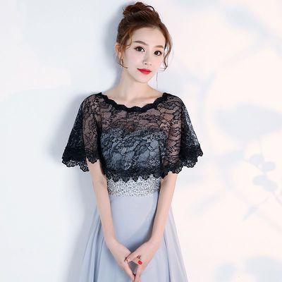 韩式新娘婚纱蕾丝披肩小斗篷套头一字肩纱夏季薄款伴娘礼服披肩女