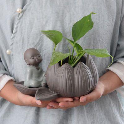 水养植物玻璃花瓶陶瓷绿萝水培花盆家居客厅小和尚装饰器皿小摆件