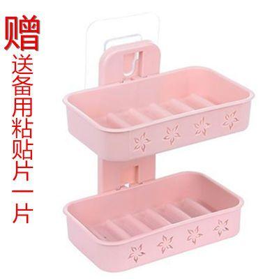 吸盘免打孔双层肥皂盒卫生间沥水创意壁挂香皂架浴室置物架肥皂架