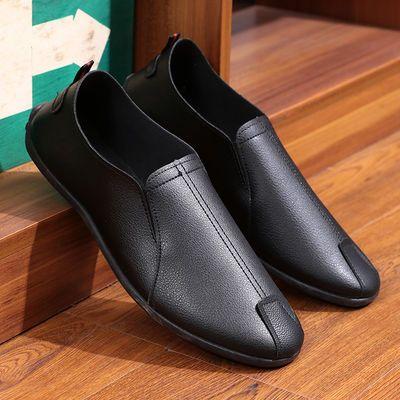 【买一双送一双】夏季豆豆鞋男单鞋韩版潮流男士鞋子百搭休闲皮鞋