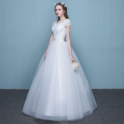 婚纱礼服蕾丝双肩V领显瘦公主大码齐地婚纱2019新款新娘结婚礼服