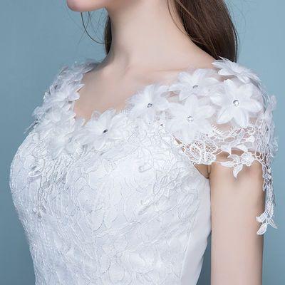 婚纱新娘齐地服婚礼服大码新娘婚纱显瘦新款双肩蕾丝结婚公主显瘦