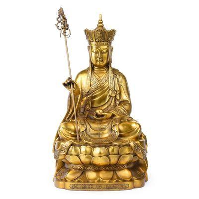 开光纯铜地藏菩萨地藏王铜像地藏佛像娑婆三圣镇宅家居摆件装饰品