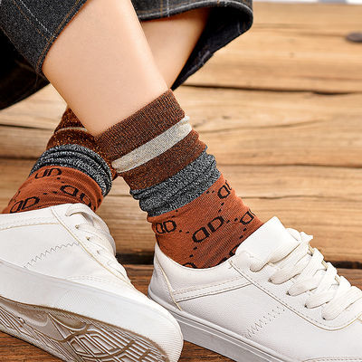2-5双韩版堆堆袜女金银丝春秋百搭长袜韩国潮流中筒纯棉女生袜子