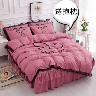全棉网红ins公主风床上四件套1.8米少女心床裙小仙女纯棉被套床单