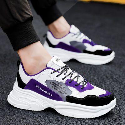 秋季透气男鞋子韩版潮流网面运动鞋学生增高男士跑步休闲鞋老爹鞋主图