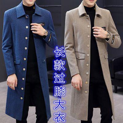 风衣男长款韩版秋冬青年修身帅气潮流男装加长过膝大衣男毛呢外套