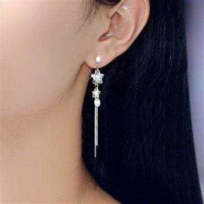 925银饰女森系星星锆石水晶流苏耳坠日韩版气质耳线气质优雅耳环