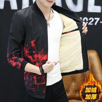 韩版加绒加厚外套男秋冬装修身薄款夹克休闲保暖上衣男短款棒球