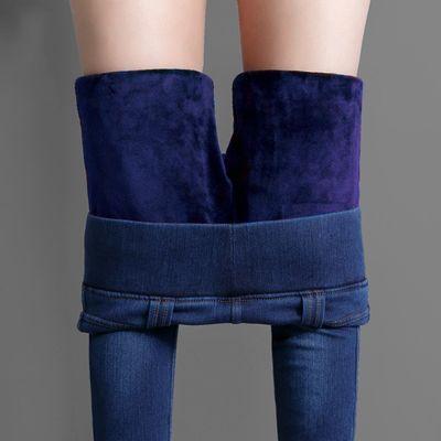 【单款/加绒】松紧腰牛仔裤女秋冬高腰弹力修身加绒加厚大码小脚