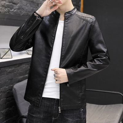 富贵鸟春秋男士皮衣夹克薄款机车外套男装上衣仿真PU休闲皮夹克