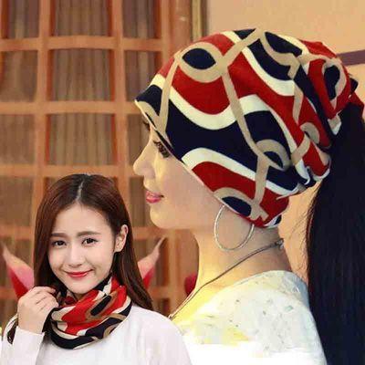 帽子女春夏韩版多功能头巾帽包头套头帽脖套帽印花堆堆帽扎马尾帽