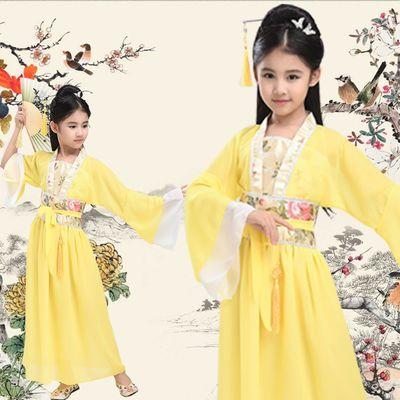 买一送十儿童古装小七仙女中国风公主裙古筝表演服女童仙女装汉服