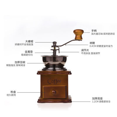磨豆机咖啡豆研磨机手摇咖啡机磨豆机家用复古小型粉碎机磨粉【2月29日发完】