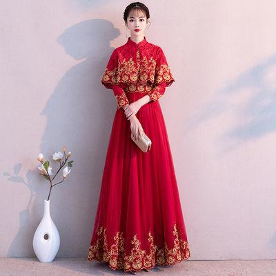 红色敬酒服新娘秋季2019新款时尚优雅结婚礼服女长款回门服晚礼服