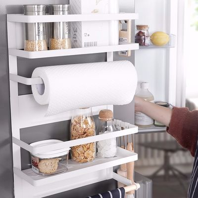 厨房大号磁吸冰箱侧面壁挂收纳置物架铁艺保鲜膜多层调料卷纸挂架
