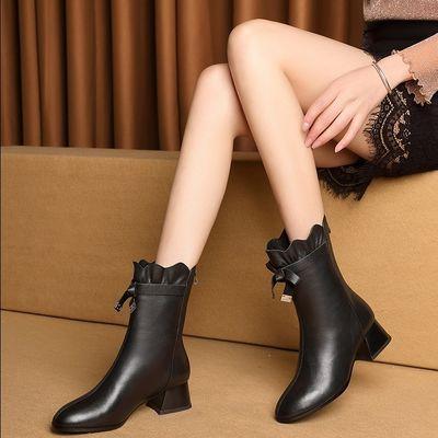 靴子女中筒靴春季中跟百搭圆头粗跟时装靴英伦风优雅白色中跟女鞋【3月6日发完】