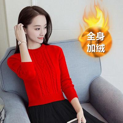 加绒加厚毛衣女新款针织衫上衣学生韩版女士冬天保暖短款打底衫女