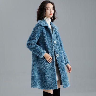 羊剪绒大衣女2020新款冬皮毛一体中长款羊羔毛大颗粒海宁皮草外套