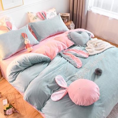 秋冬网红款床上四件套全棉纯棉ins风床单兔子被套可爱少女公主风