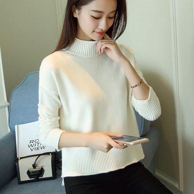 秋冬装新款韩版女装纯色宽松针织打底衫加厚套头半高领毛衣女