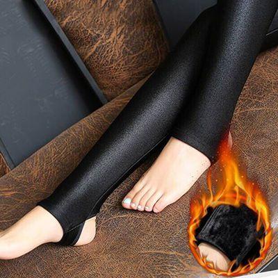 冬季加绒加厚打底裤女光泽裤保暖外穿小脚秋冬季踩脚长裤高腰棉裤