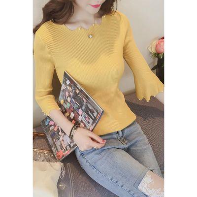 2019春秋款韩版五分袖修身显瘦打底针织衫短款喇叭中袖薄毛衣女装