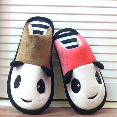可爱棉拖鞋女秋冬季熊猫情侣男家居室内卡通儿童亲子厚底一家三口