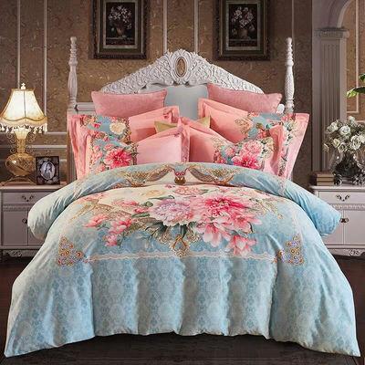 中式纯棉四件套全棉斜纹床单被套1.8m2.0m米床上用品春秋婚庆被罩