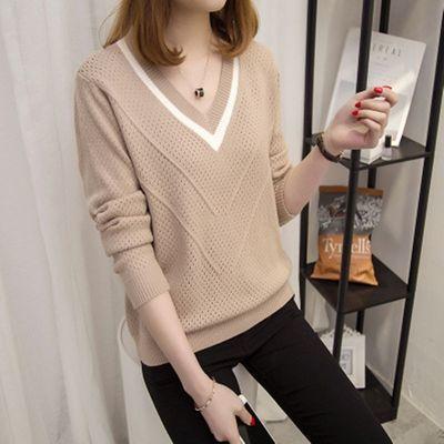 春秋新款针织衫女士套头短款韩版宽松长袖簿款毛衣纯色打底镂空衫