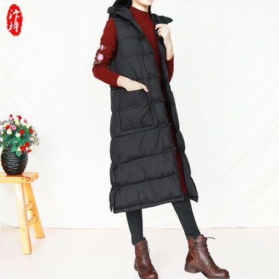 复古民族风马甲外套女装中长款棉衣宽松冬季保暖连帽棉服马夹背心