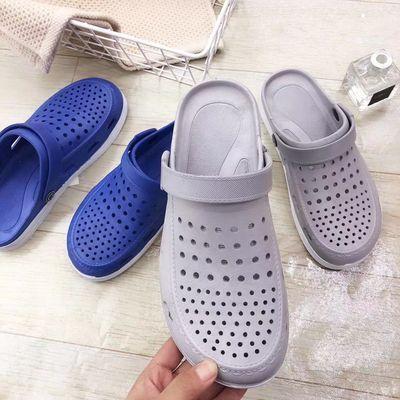 中学生新款韩版夏季室内外穿洞洞鞋女软底防滑包脚沙滩凉拖鞋男士