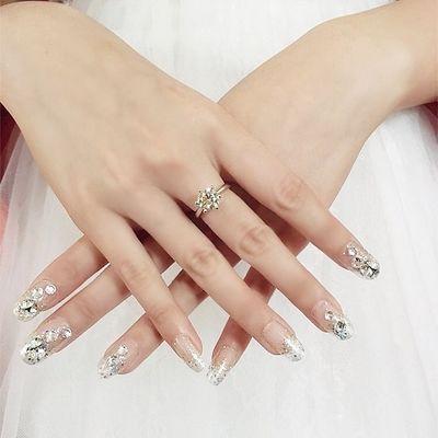 圆头闪粉闪钻新娘穿戴美甲贴片假指甲成品指甲贴