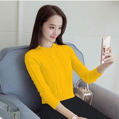 韩版新款女士短款冬天打底衫加绒加厚套头秋季针织衫小个子毛衣女